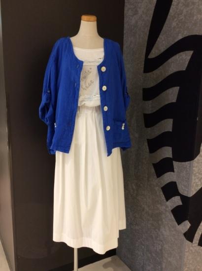 リーノジャケットスタイル インポート,リネン,麻,ジャケット,プリーツスカート,半袖シャツ